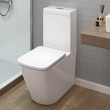 ibathuk modern bathroom white gloss close coupled toilet cistern pan seat - Modern Bathroom Toilet