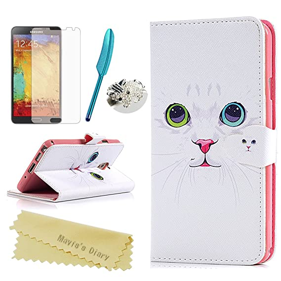 reputable site 9a899 b026a Galaxy Note 3 Case - Mavis's Diary Cute Wallet White Cat PU Leather with  Card Holders Kickstand Magnetic Folio Cover for Samsung Galaxy Note 3 &  Bling ...