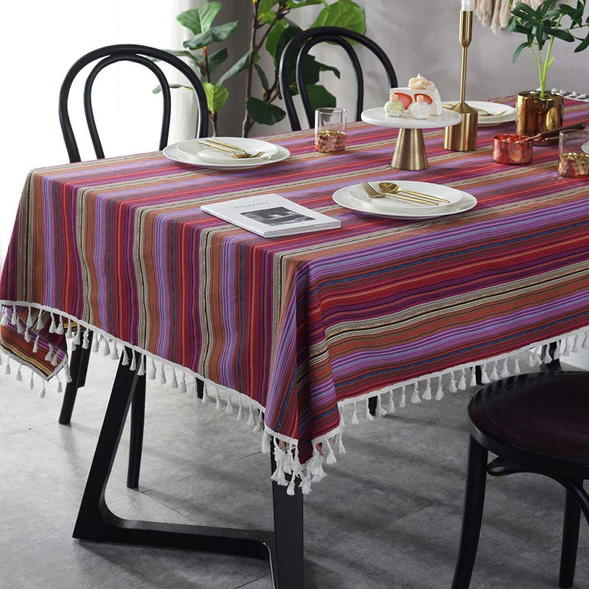 Bringsine Stitching Tassel Tablecloth Heavy Weight Cotton Linen Fabric Dust-Proof Table Cover Kitchen Dinning Tabletop Decoration(Round,60 Inch, Rainbow)