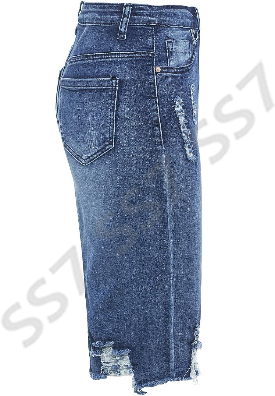 SS7 nouvelles femmes jeans d/élav/é Jupe extensible Tailles 8-14