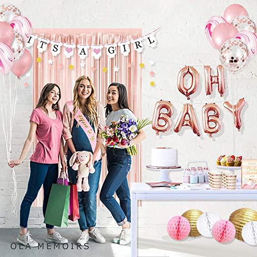 Amazon.com: Ola Memoirs Premium Baby Shower Decoraciones ...