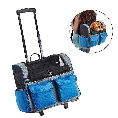 Louvra Transportín Portador Perro Carrito de Mascotas Capazo Perro Mochila Gatos Para Línea Aérea, Color