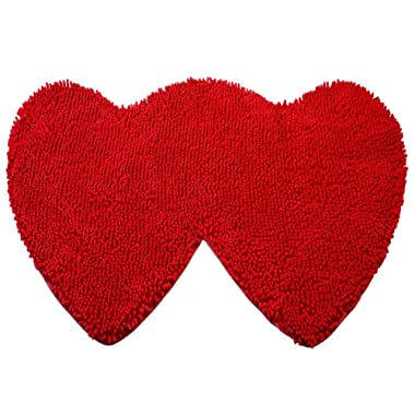 YX-Yami Chenille Double Heart Rugs,Super Soft Anti-Skid Area Rugs Carpet, Bathroom, Bedroom, Stairs Home Floor Decorations (Red)