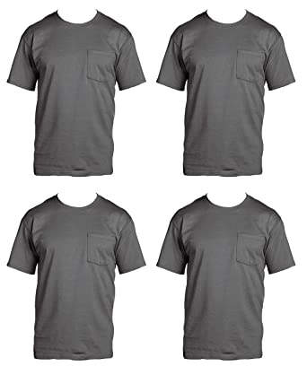 Fruit of the Loom Mens 4-Pack Pocket Crew Neck T-Shirt Charcoal Grey Small