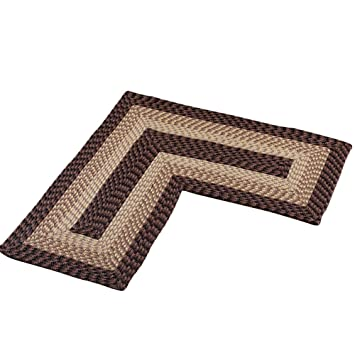 L Shaped Corner Kitchen Laundry Bath Braided Rug, Chocolate