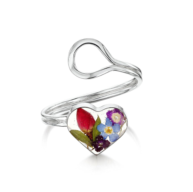925 Sterling Silber Herz variable Gr/ö/ße Shrieking Violet: verstellbarer Ring Gemischte Bl/üten