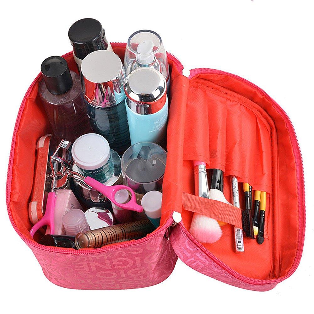 Maquillage cosm/étique sac organisateur pour les femmes train cas style avec double fermeture /éclair portable Kit organisateur de voyage pour les brosses