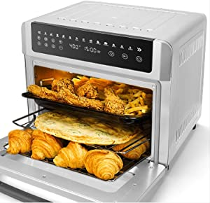 13-in-1 Air Fryer Oven, 19 Quart Air Fryer Toaster Oven Combo, Convection Countertop Oven, Rotisserie and Dehydrator, LED Digital Touchscreen, 6 Accessories Included, Stainless Steel, 1700W