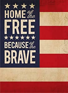 Covido July 4th Garden Flag Home of Free Because of the Brave, Decorative American Flag Patriotic House Yard Decor USA Spring Summer Outside Decoration Seasonal Outdoor Small Flag Double Sided 12 x 18
