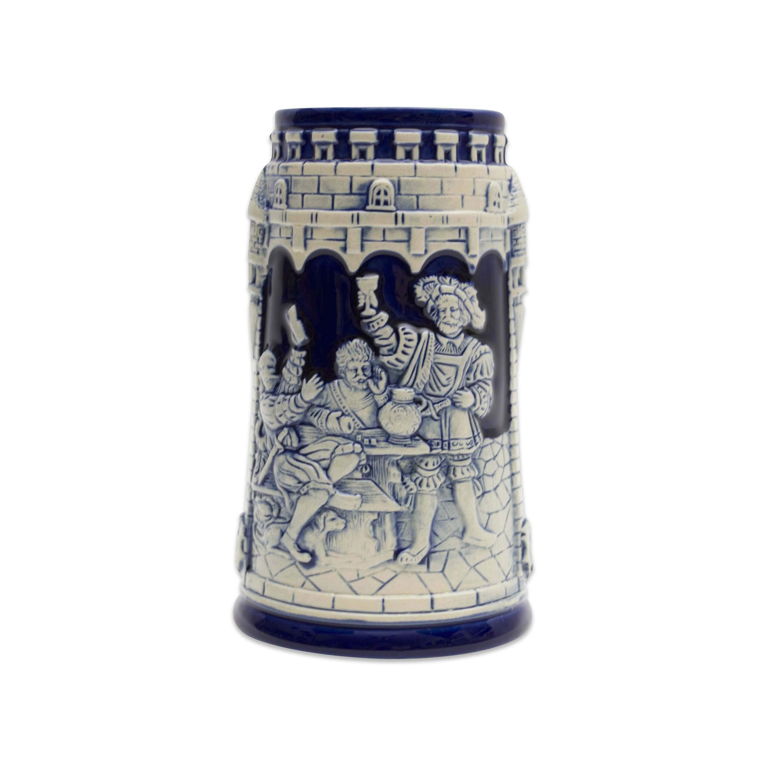 Beer Stein German Castle Festive Engraved Cobalt Blue Beer Mug by E.H.G. | .60 Liter