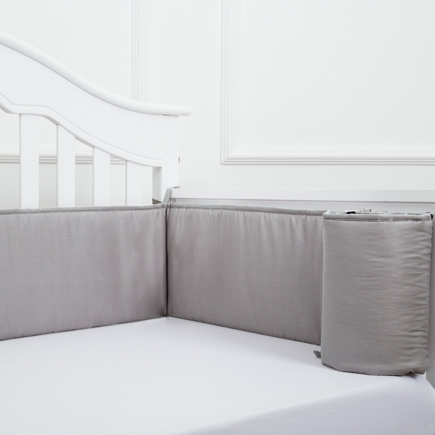 TILLYOU Baby Crib Bumper Pads for Standard Crib Slats Breathable Machine Washable Padded Crib Liner 100% Premium Woven Cotton 1-Piece Safe Bumper Guards Crib Padding, Gray