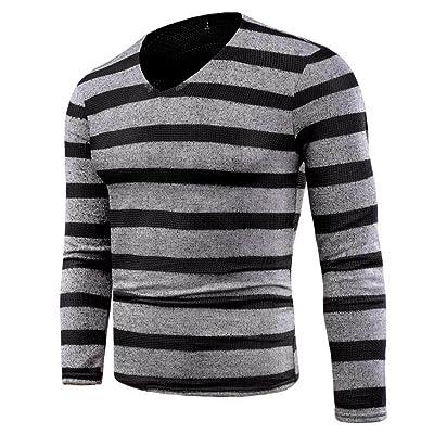 Aritone Mens Stripe Design Knitwear Pullover Cotton, Men's Autumn Winter Slim Jumper Knitwear Outwear