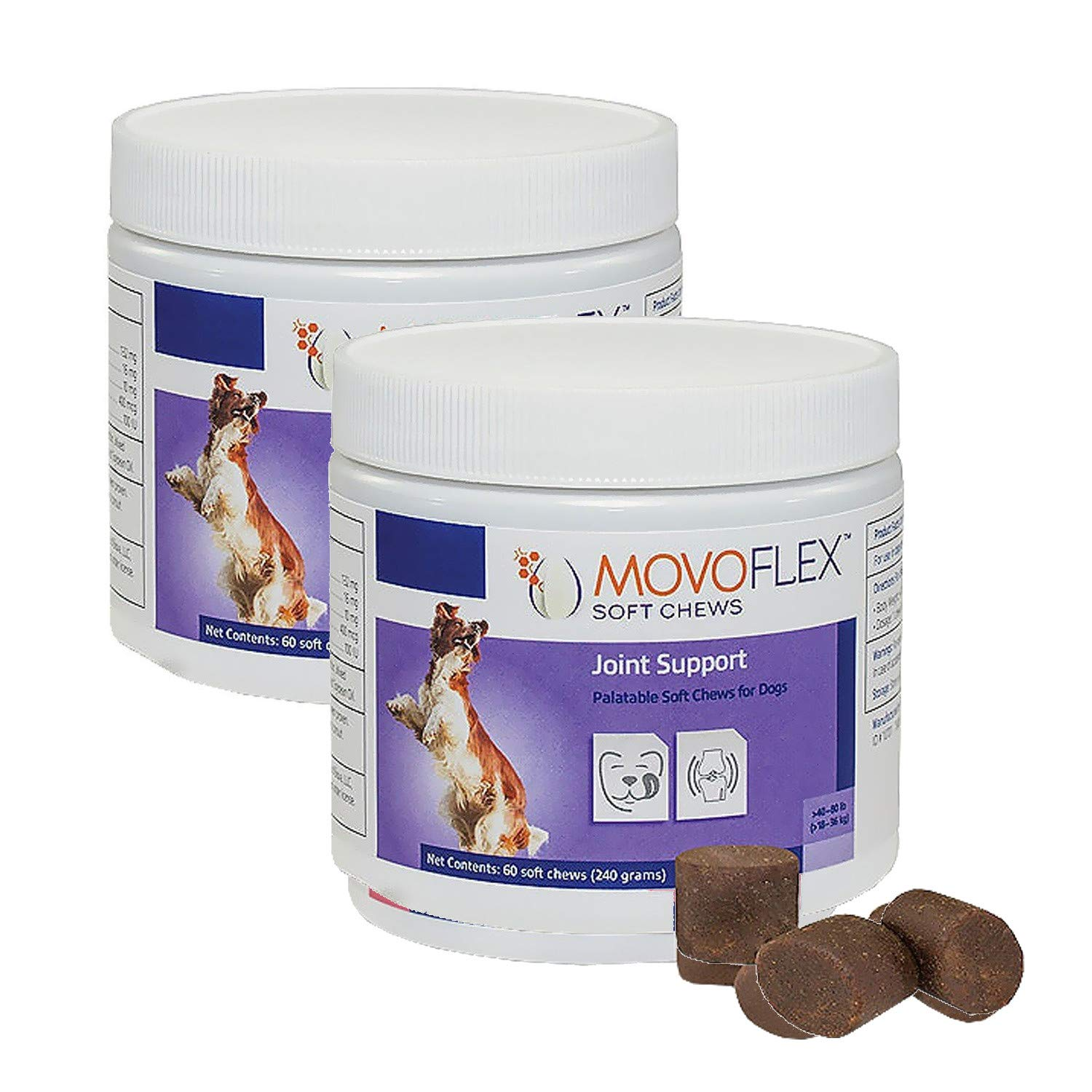 MoVoFlex Joint Support Soft Chews for Dogs Medium 120Count, Brown