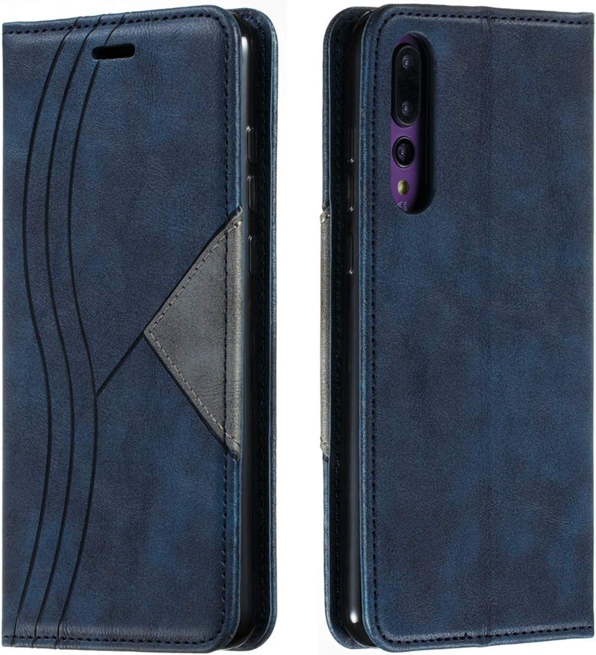 HUDDU H/ülle Kompatibel mit Huawei P20 Pro Handyh/ülle Leder Flip Premium PU Schutzh/ülle Kartenfach Flip Tasche Soft St/änder Brieftasche Lederh/ülle Klapph/ülle Bumper Cover Sto/ßfest Blau
