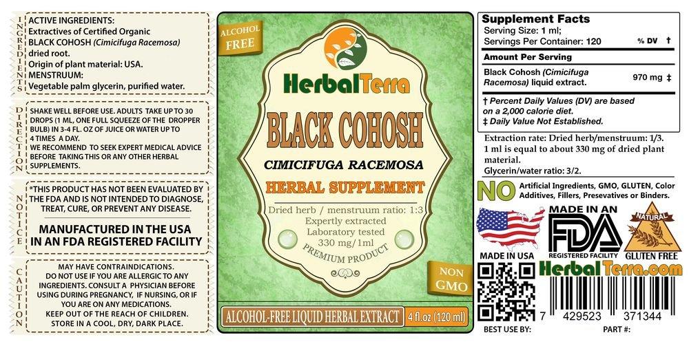 Black Cohosh (Cimicifuga Racemosa) Tincture, Organic Dried Root Liquid  Extract 2 oz
