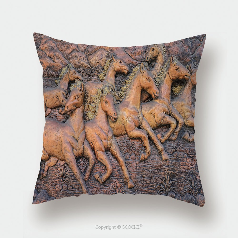 Custom Satin Pillowcase Protector Low Relief Cement Thai Style Handcraft Of Horse On Wall 208699222 Pillow Case Covers Decorative by chaoran