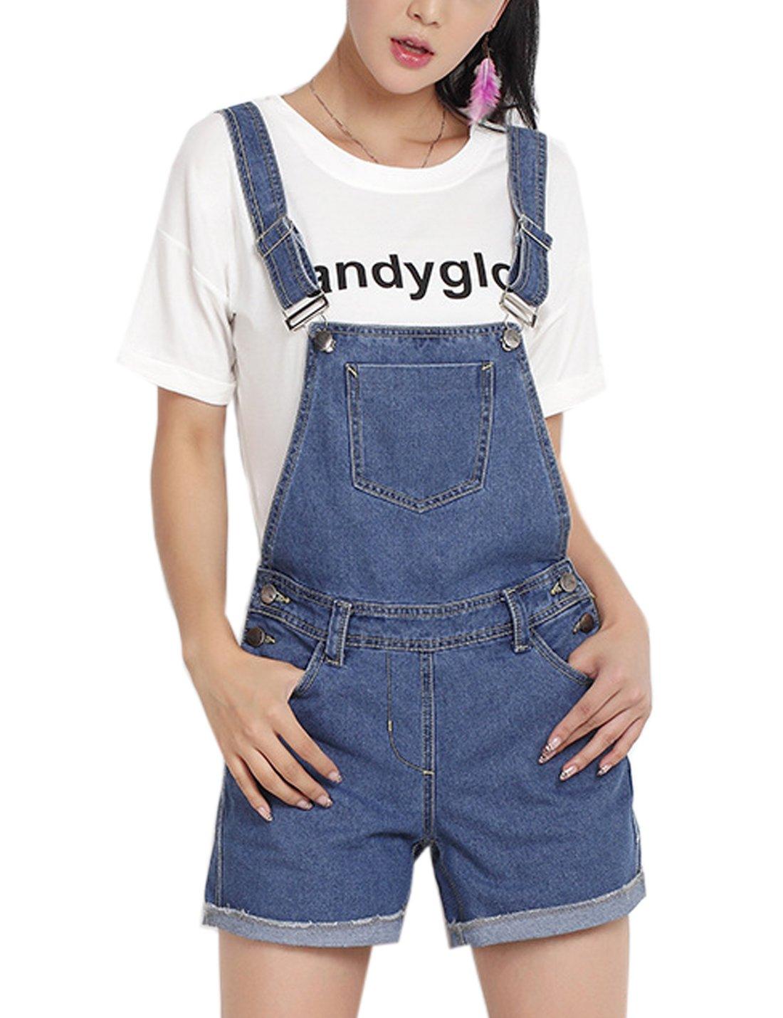 Flygo Women's Classic Casual Distressed Denim Bib Overalls Shorts (X-Large, Blue)