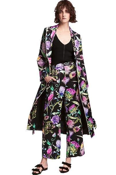 Amazon.com: De la Mujer floral impresión negro lazo de la ...