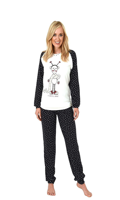 65edc5a26deeef Normann Copenhagen Damen Pyjama mit Bündchen - Herz Alloverdruck - auch in  Übergrössen - Kuschel-Interlock: Amazon.de: Bekleidung