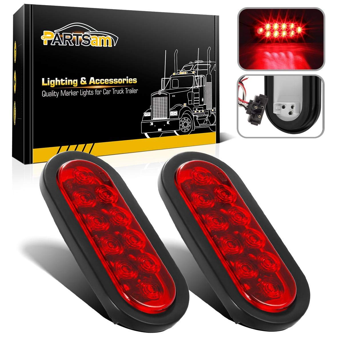 Partsam 2 Pcs 6 Inch Oval Trailer Tail Lights Red 10 LED, 6'' Red Oval Sealed LED Turn Signal and Parking Light Kit with Light, Grommet and Plug for Truck Trailer (Turn, Stop, and Tail Light)