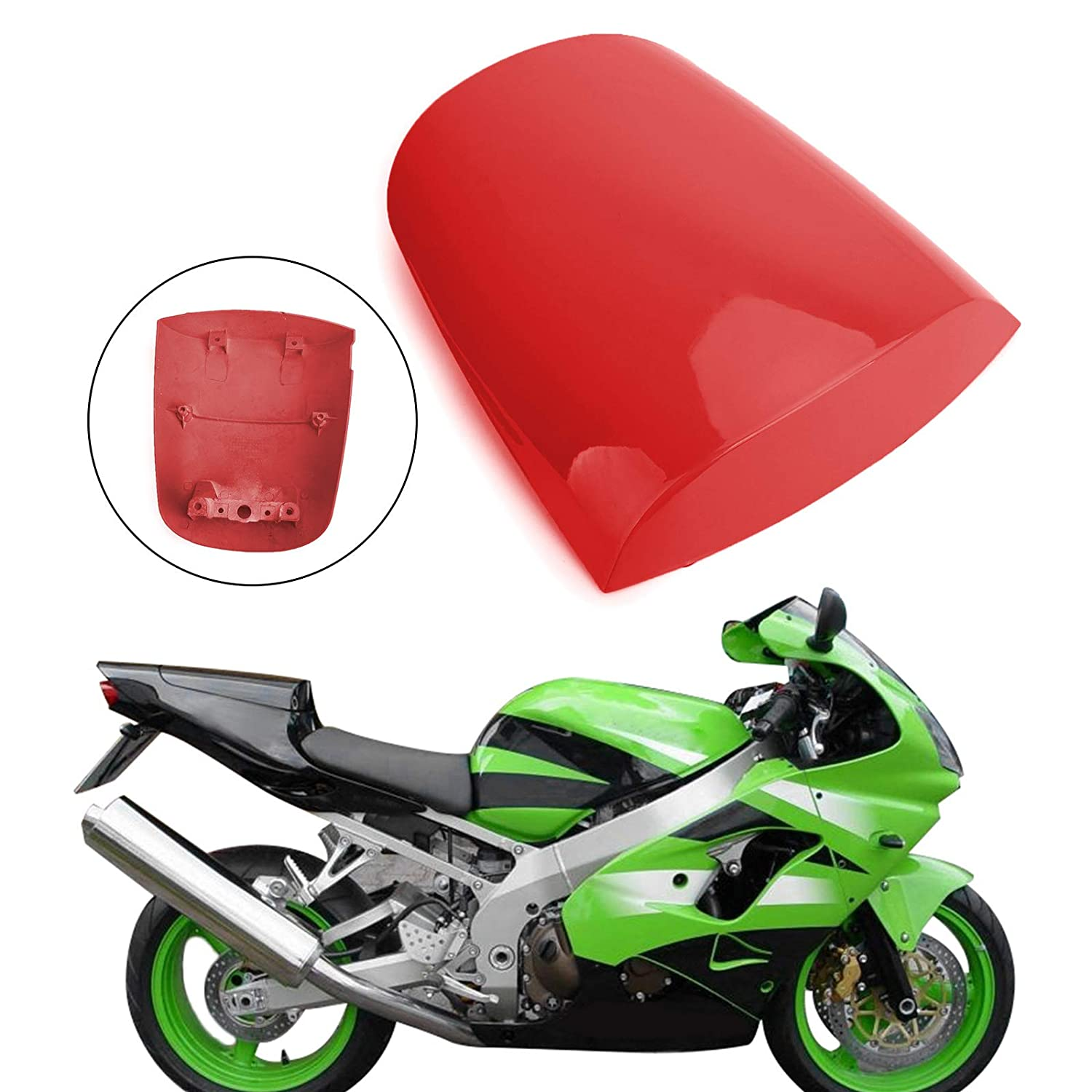 Red JFG RACING Motorcycle Rear Seat Cowl Passenger Pillion Fairing Tail Cover For Kawasaki 2003-2004 ZX6R,2003-2006 Z1000,2003-2006 Z750