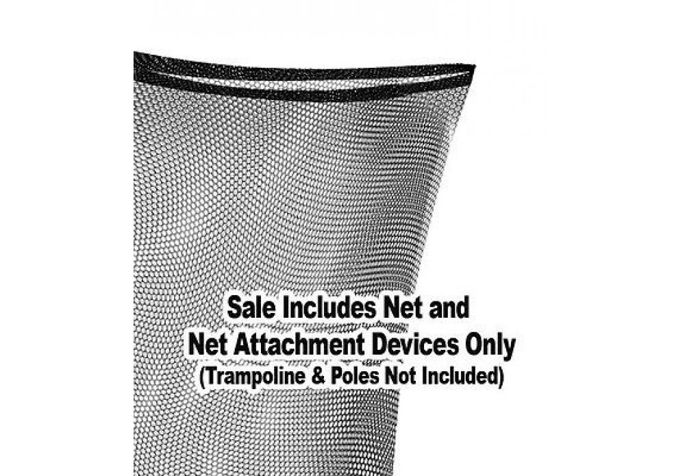 Trampoline Replacement Nets | Sizes 8 ft Thru 15 ft | Net Only | Poles and Top Ring Not Included (Square/Rectangle Nets, Rectangle 14' x 8' | Fits 6 Poles | Straps)