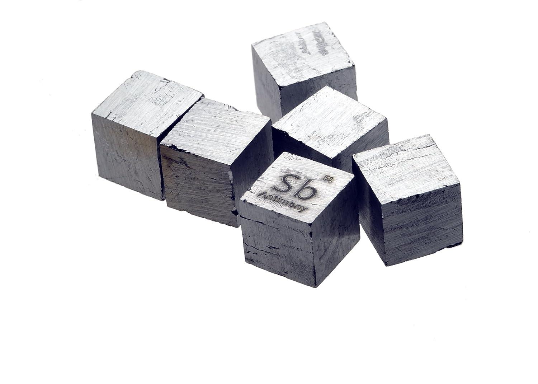 Antimonio Metal 10 mm Densidad cubo 99, 95% Pure Luciteria Science