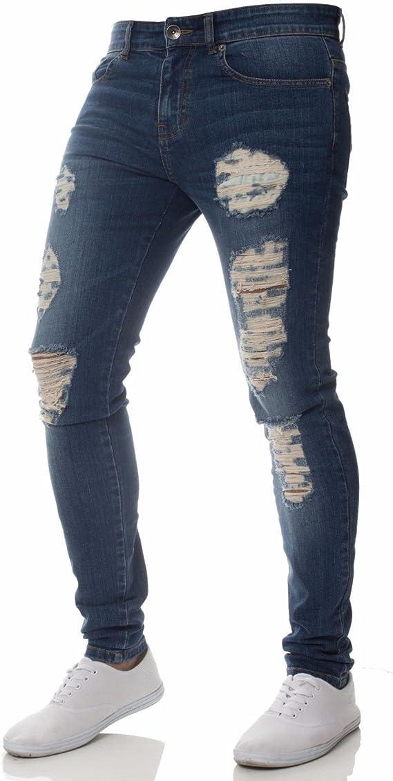 Zeyan97 Pantalones De Mezclilla Ajustados Casuales Para Hombres Agujeros Rasgados Desgastados Pantalones De Mezclilla Ajustados Ajustados M Azul Oscuro Amazon Com Mx Ropa Zapatos Y Accesorios