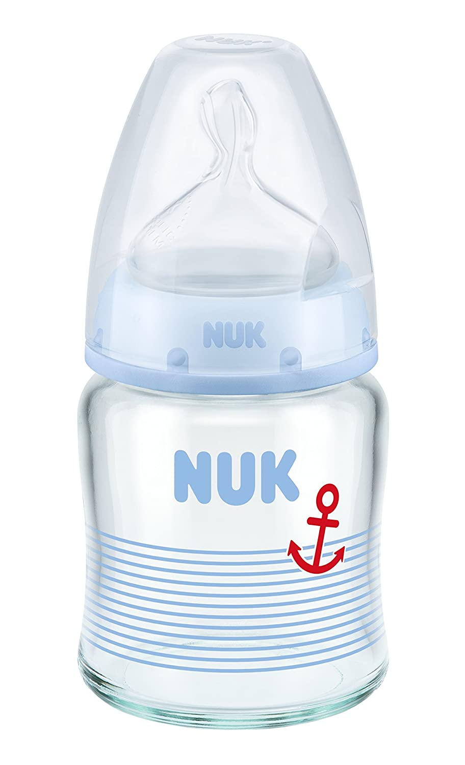 Nuk 10211015 First Choice Plus Glass Baby Bottle, 120ml, silicone teats, size 0-6 months, S, blue