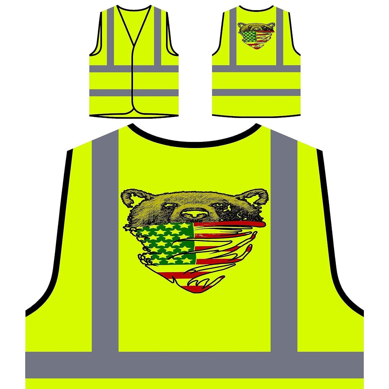 My American Bear USA drapeau écharpe Veste de protection jaune personnalisée à haute visibilité aa187v INNOGLEN