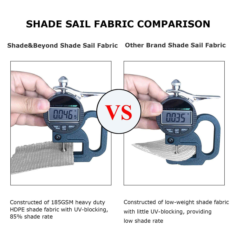Shade&Beyond Sun Shade Sail Triangle 20'x20'x20' UV Block for Yard Patio Lawn Garden Deck Light Grey by Shade&Beyond (Image #4)