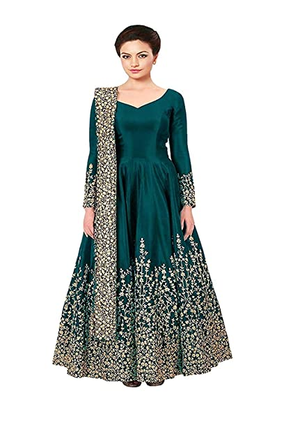 ef54521392 Omkar Fab Women s Taffeta Silk Anarkali Embroidered Gown (GREEN)   Amazon.in  Clothing   Accessories