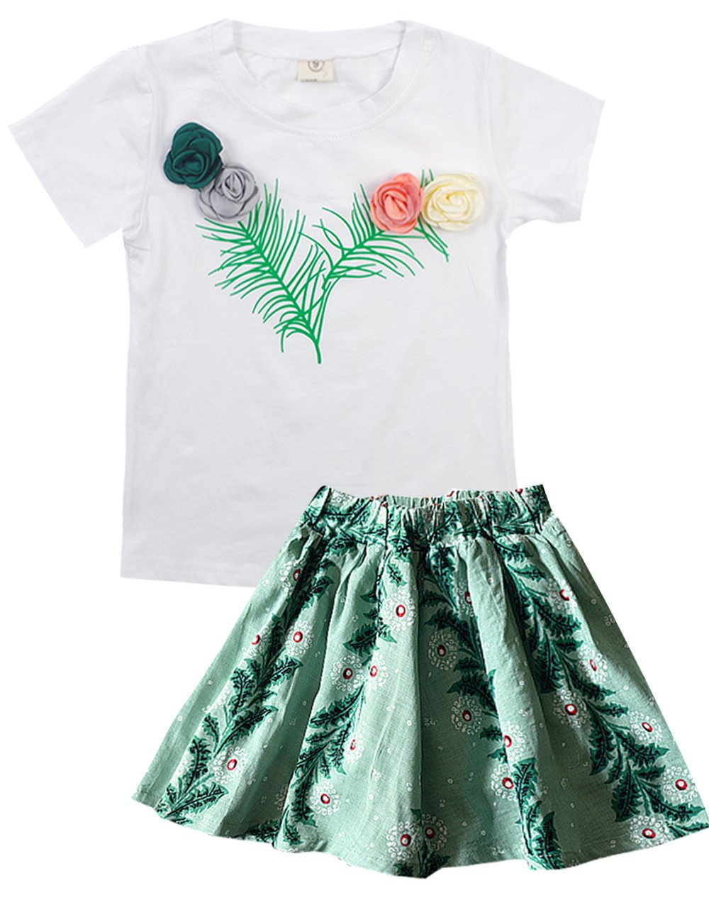 Spring&Gege Little Girls' Short Sleeve Rose Applique Tops and Pattern Skirt Sets 2Pcs Summer Outfits Size 5-6 Years Green