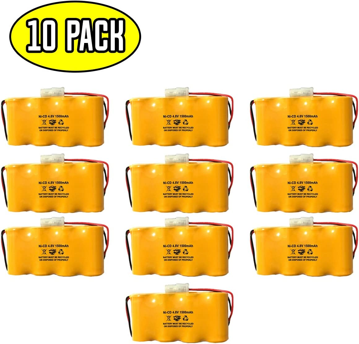 (10 Pack) Prescolite ELB0501N1 Prescolite ENB048015 4.8v 1500mah NiCad Battery Lithonia ELB0501N ELB4814N Dantona Custom-45 Pack Exit Sign Emergency Light