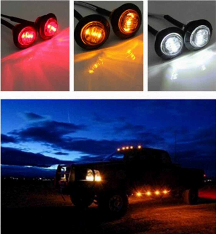 Side Led Marker for Truck Boat SUV ATV Bike Trailer Marine Eaglerich 10 PCS 3//4 Inch Mount LED Bullet Marker Lights