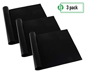 Home Glory Oven Liners | Non-Stick Certified BPA & PFOA Free Stove Mat Mats Silicone Liners | 3 Pack Large