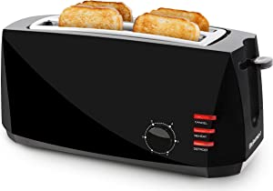 Elite Gourmet ECT4829B Maxi-Matic 4 Slice Long Toaster 6 Toast Settings, Defrost, Reheat, Cancel Functions, Extra Wide 1.5
