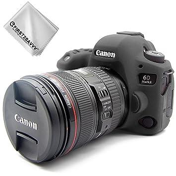 First2savvv Negro Cuerpo Completo Caucho de TPU Funda Estuche Silicona para cámara para Canon EOS 6D Mark II 6D MK II + paño de Limpieza XJPT-6D Mark ...