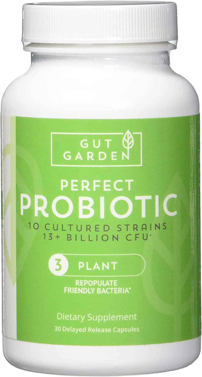 Gut Garden Perfect Probiotic for Women and Men - Leaky Gut Repair - Gut Health Supplement with Digestive Enzymes - 13 Billion CFU - 10 Cultured Strains - 30 Delayed Release Capsules