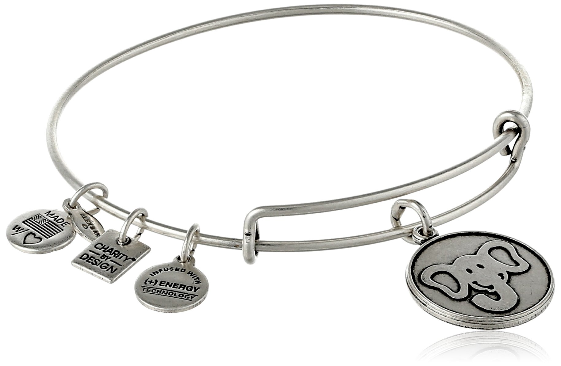 Alex and Ani Charity by Design The Elephant Rafaelian Silver-Tone Expandable Wire Bangle Bracelet