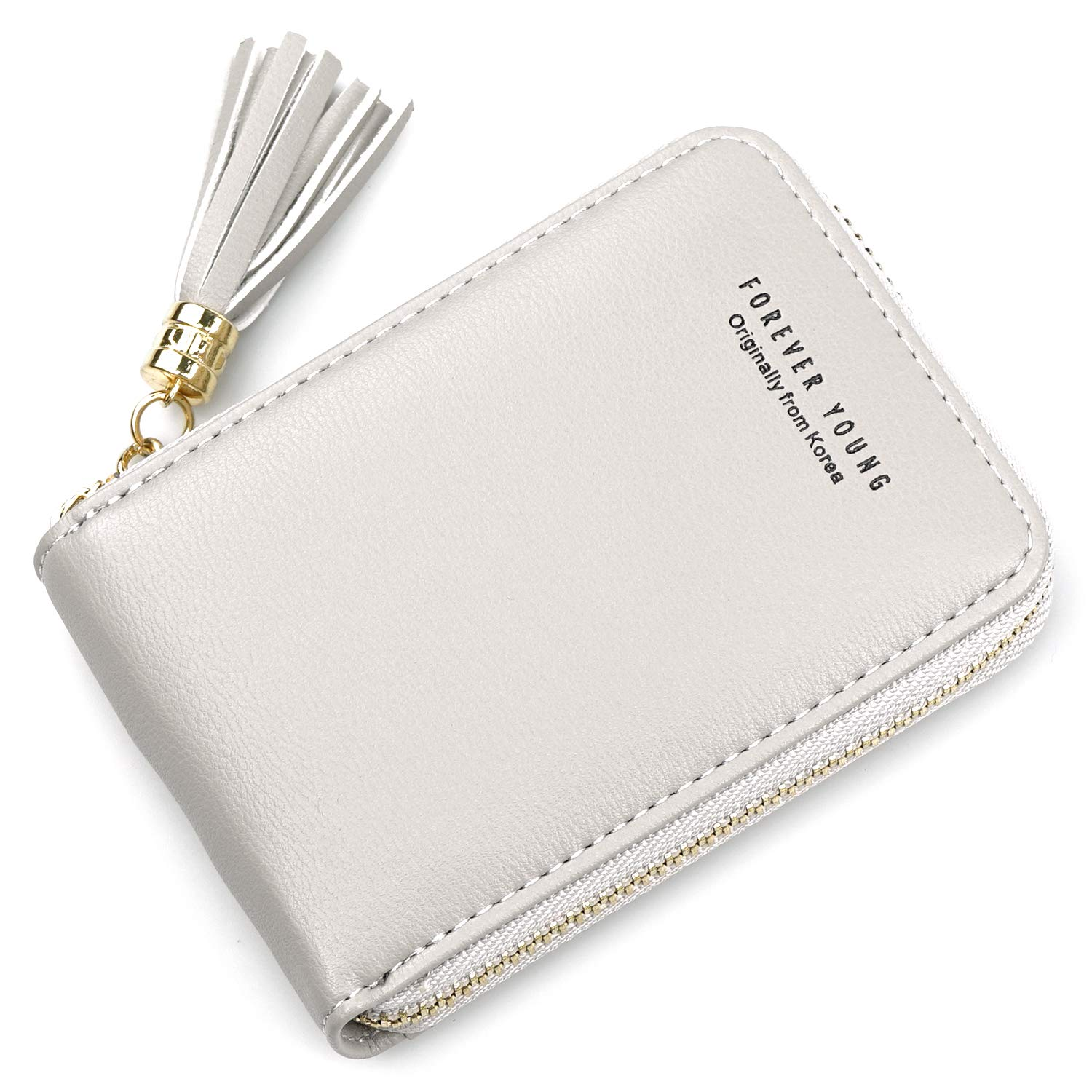 Women's Genuine Leather RFID Secure Spacious Cute Zipper Card Wallet Small Purse Card Case Holder