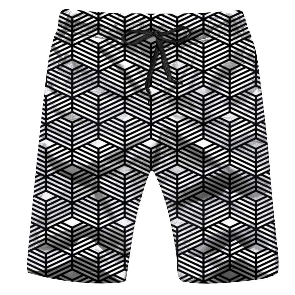 Mens Black Cat Pattern Shorts Elastic Waist Pockets Lightweight Beach Shorts Boardshort