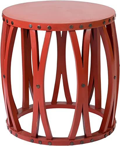 East at Main Yuma Red Teak Round Accent Table, 20 x20 x20.5