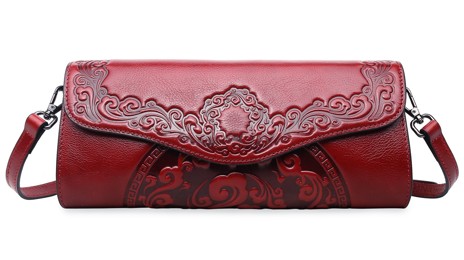 PIFUREN Womens Luxury Evening Wedding Party Purse Clutch Floral Handbag Y76937(One Size, Red)