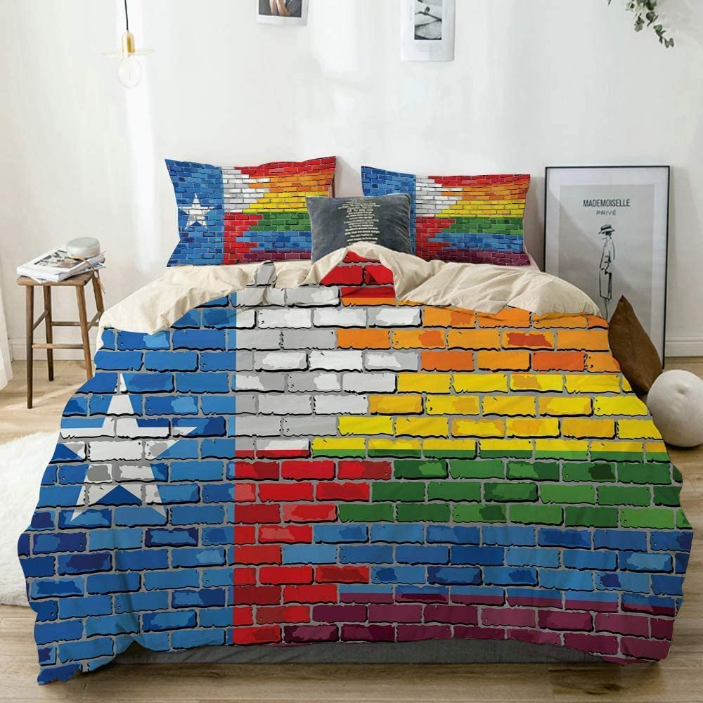 POJINNLA Duvet Cover Set Queen Size Decor Children Boys Bed Cover Brick Wall Textured Grungy Image Painted in Texas Flag and Rainbow Colors Design Comforter Protector Warm Comforter Quilt Cover