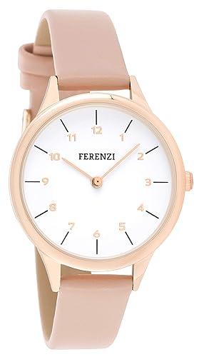 FERENZI - Reloj de Pulsera para Mujer, Moderno, Tono Oro Rosa y Piel sintética Rosa, FZ19803: Amazon.es: Relojes
