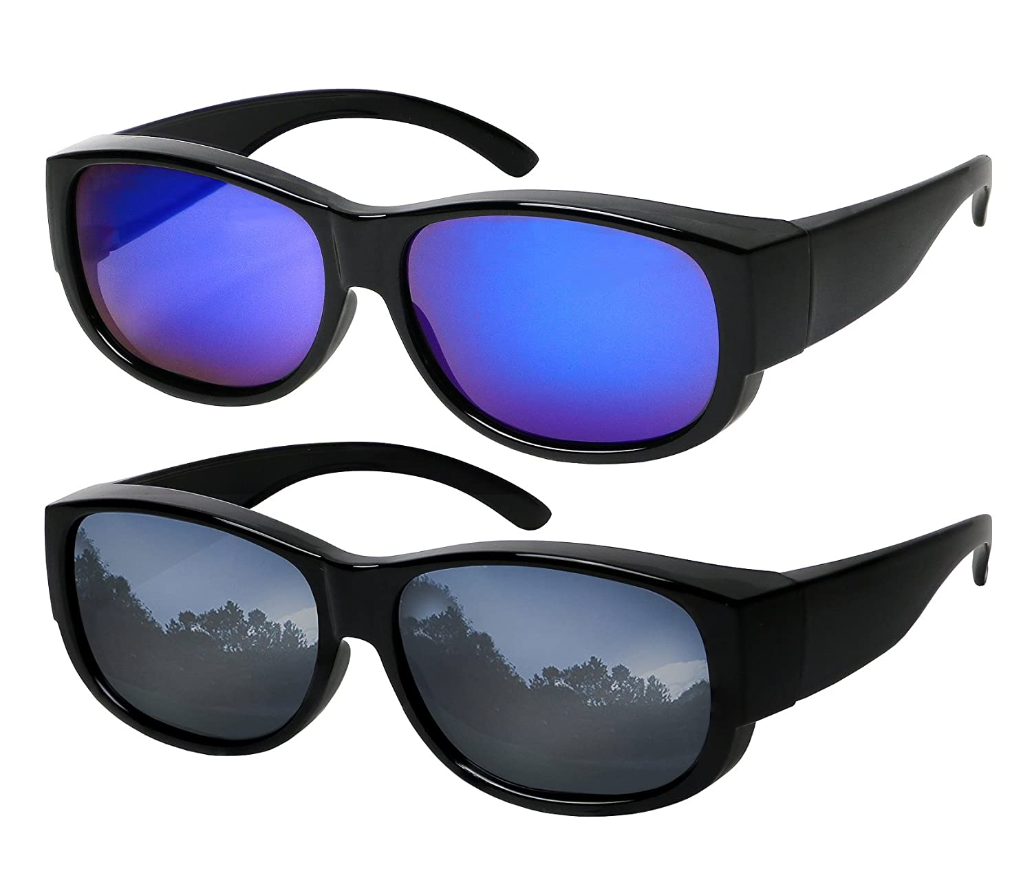 bee036045c22 Amazon.com  Fit Over Sunglasses Polarized Lens 100% UV Protection Wear Over  Prescription Eyeglasses Grey Mirror and Blue Mirror Fitovers for Men and  Women  ...