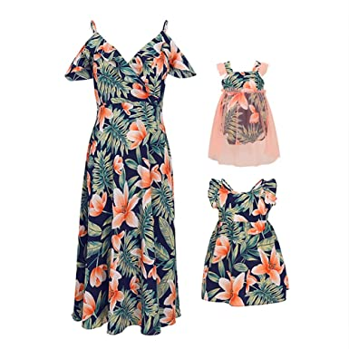 aa208df7 PopReal Mommy and Me Floral Lily Print V-Neck Cold Shoulder Backless Family  Matching Outfits: Amazon.in: Clothing & Accessories