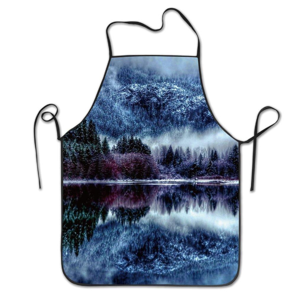 ユニセックスキッチンエプロン冬フォレストMountain Natureシェフエプロン料理エプロンバーベキューエプロン   B07DHCR94C