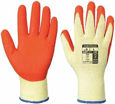 50 pares de guantes de trabajo de algodón y poliéster, con agarre de látex, guantes de seguridad, talla M, talla XL, M, naranja: Amazon.es: Industria, empresas y ciencia